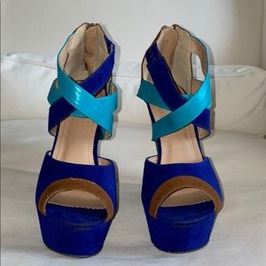 Liliana Brown Blue Turquoise Color Block Wedges